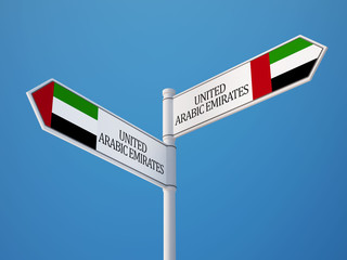 United Arab Emirates.  Sign Flags Concept