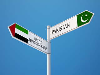 Pakistan United Arab Emirates.  Sign Flags Concept