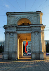 Victory Arch in Chisinau in the evening..