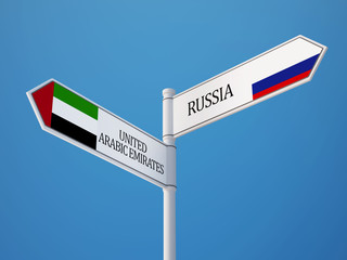 Russia United Arab Emirates.  Sign Flags Concept