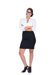 smiling young successful business woman isolated