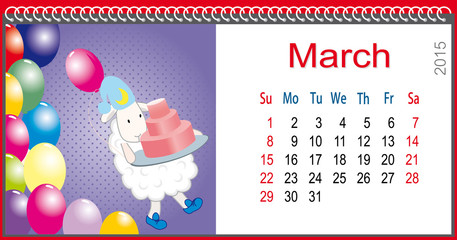 Calendar for March and lamb bear cake