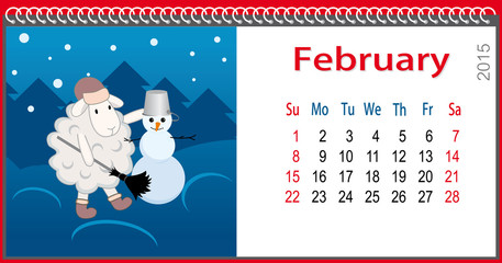 Calendar for February and lamb sculpts snowman