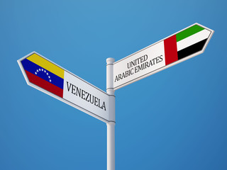 Venezuela United Arab Emirates.  Sign Flags Concept