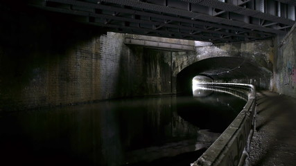 Inside Curzon Street canal tunnel.