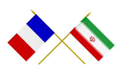 Flags, France and Iran