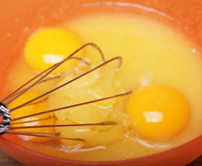 Eggs and sugar in mixing bowl prepare for bake