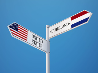 United States Netherlands  Sign Flags Concept