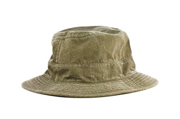 Green bucket hat isolated on a white background