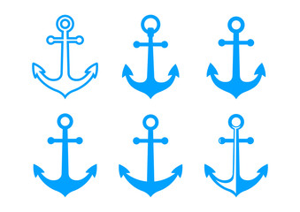 Blue anchor icons on white background