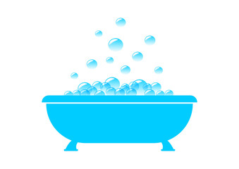 Blue bathtub on white background