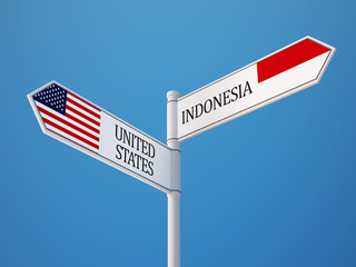 Indonesia United States  Sign Flags Concept