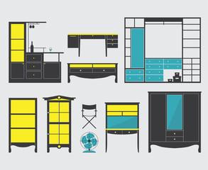 Set of Furniture Icon in Flat Design