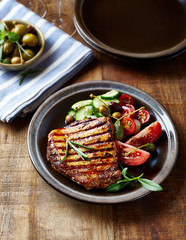 Grilled Turkey Breast in Soy Sauce with Salad