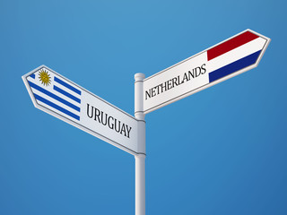 Uruguay Netherlands  Sign Flags Concept