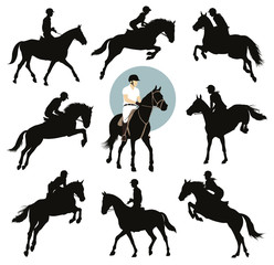 Horse and rider jumping vector silhouettes set