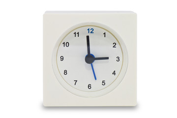 Old white clock on white background