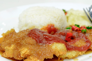 Fish Steak Savory Pepper with boiled rice