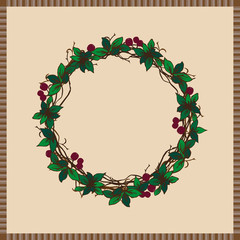 Wreath of Grapevine, Berry and Leaves