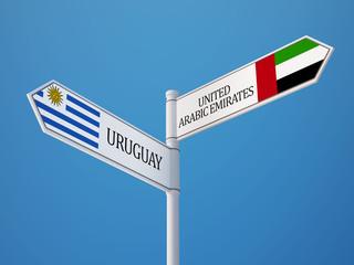 Uruguay United Arab Emirates.  Sign Flags Concept