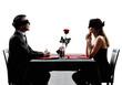 Leinwandbild Motiv couples lovers blind date dating dinner silhouettes
