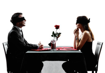 couples lovers blind date dating dinner silhouettes