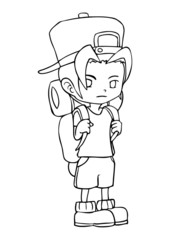 Line-art illustration of a boy with backpack