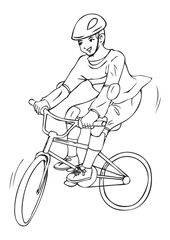 Outlined illustration of a boy riding a bicycle