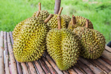 durian king of fruits  on  the market in thailand
