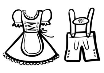 Schwarz-weiß Zeichnung Dirndl / Lederhose – Vektor