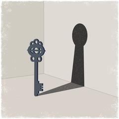 Latchkey casting shadow of keyhole