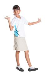 Young Asian school girl in school uniform
