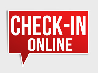 Check in online red speech bubble
