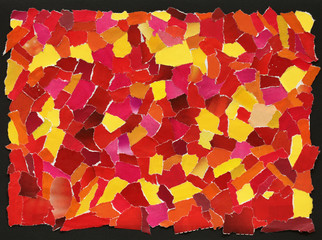 Red and yellow texture of torn paper