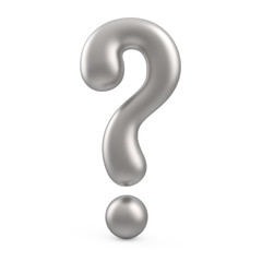 silver 3d question mark isolated on white background
