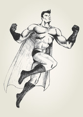 Sketch illustration of a superhero in flying pose