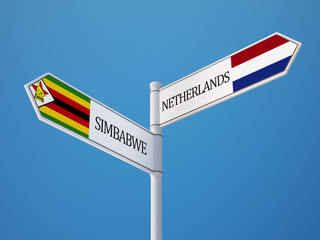 Zimbabwe Netherlands  Sign Flags Concept
