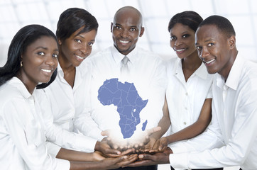 African business team with map of africa