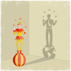 Juggling clown casting shadow of businessman