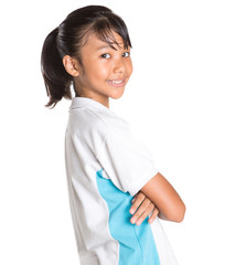 Young Asian school girl in school uniform
