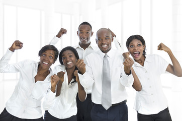 African business team cheering