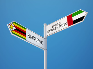 Zimbabwe United Arab Emirates.  Sign Flags Concept