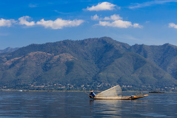 Fisherman ,  inle lake in Myanmar (Burmar)