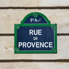 Street plate of Rue de Provence. Paris, France.