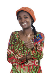 Beautiful African Woman Smiling Thumb Up