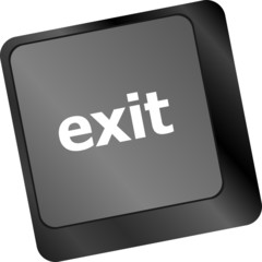 computer keyboard keys with exit button