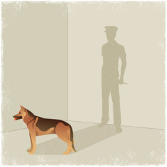 Dog casting shadow of guard