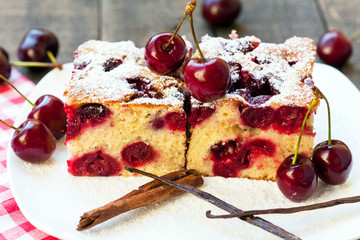 Homemade cherry cake with vanilla and icing sugar