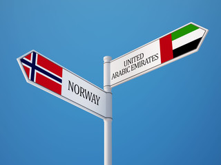 Norway United Arab Emirates.  Sign Flags Concept