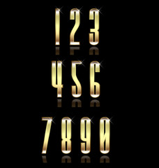 Golden numbers group set. Concept of luxury